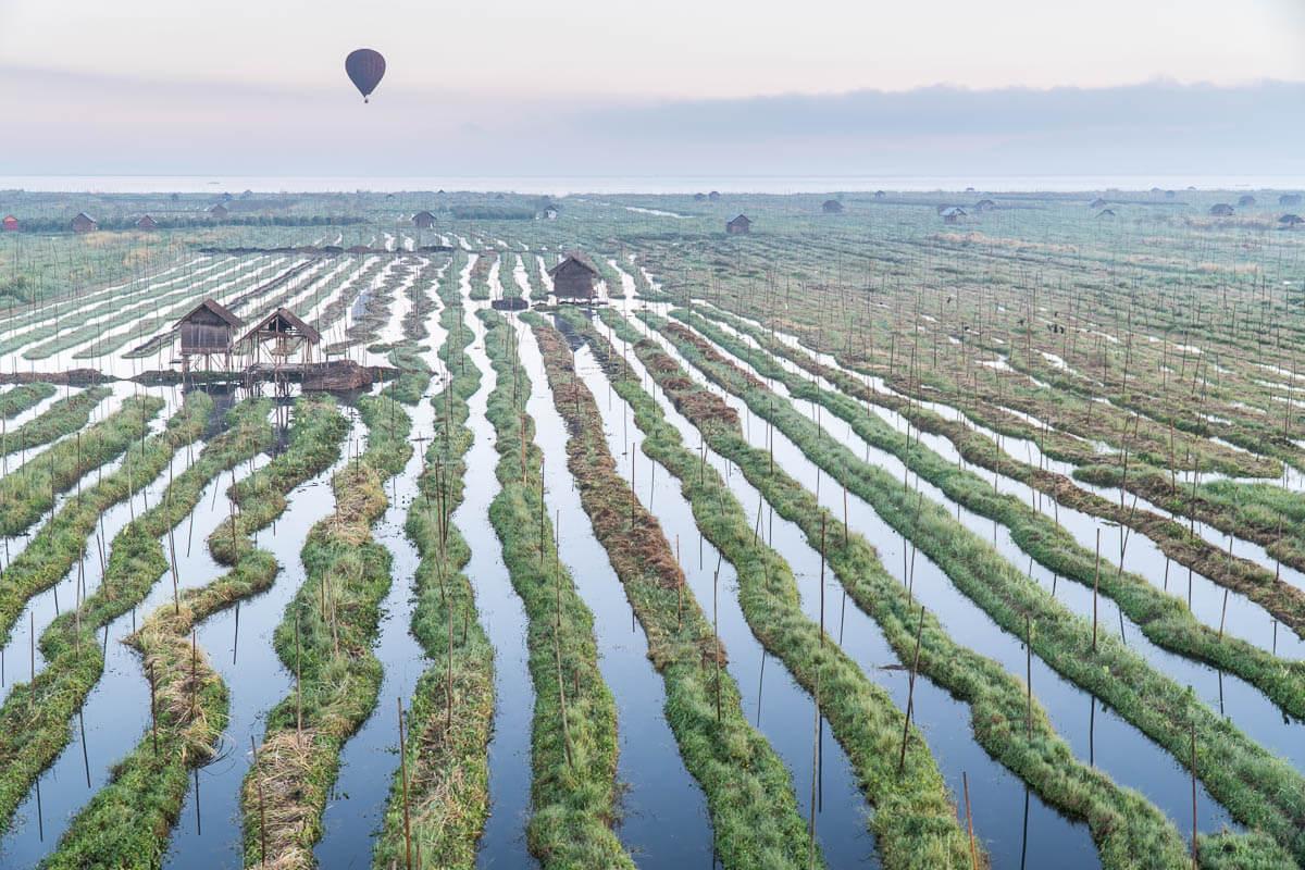 Ballonvlucht boven Inle Lake